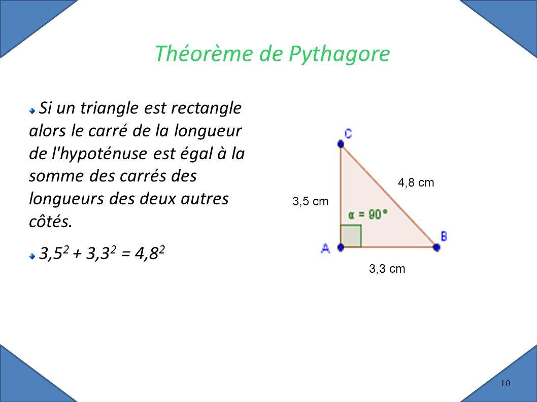 10 Théorème de Pythagore Si un triangle est rectangle alors le carré de la longueur de l hypoténuse est égal à la somme des carrés des longueurs des deux autres côtés.