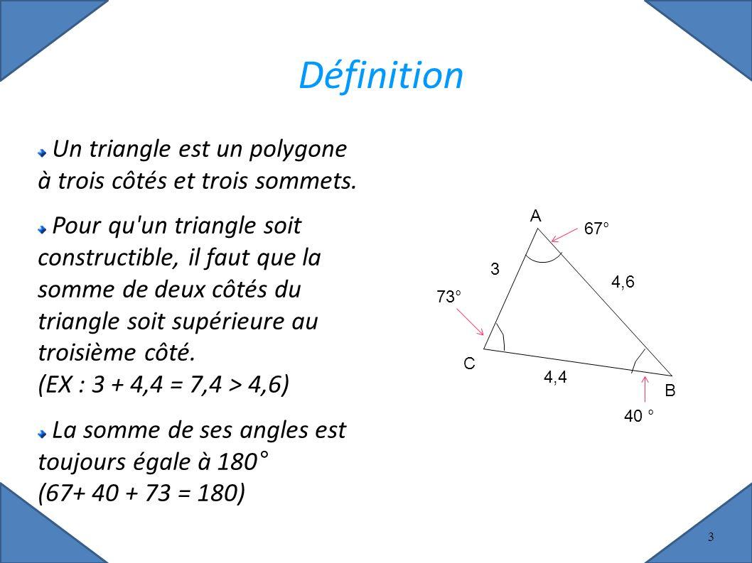 3 Définition Un triangle est un polygone à trois côtés et trois sommets.