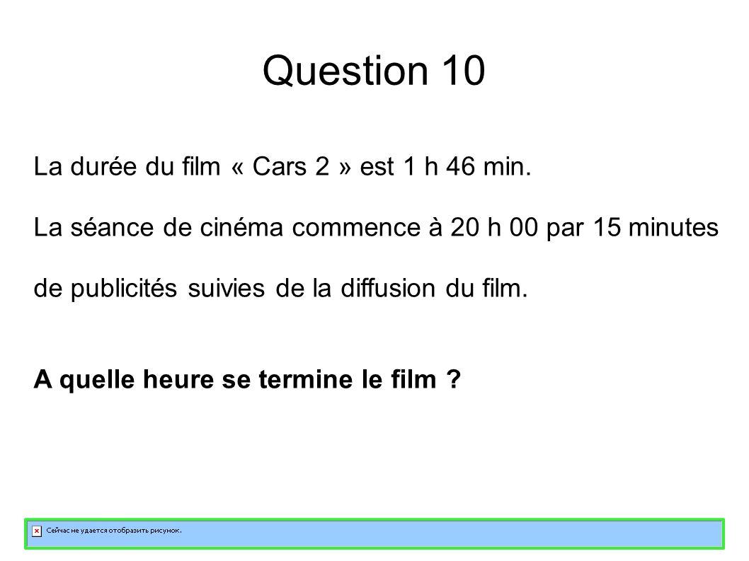 Question 10 La durée du film « Cars 2 » est 1 h 46 min.