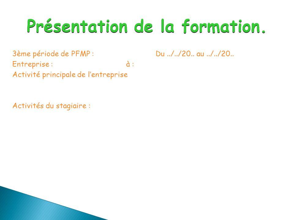 3ème période de PFMP :Du../../20.. au../../20..