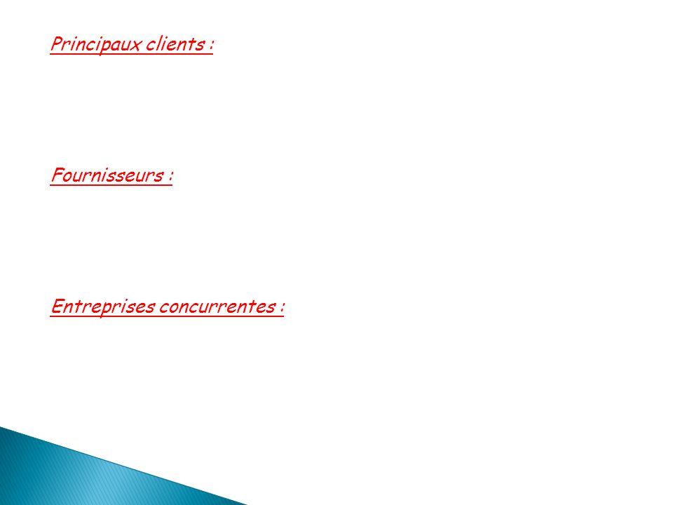 Principaux clients : Fournisseurs : Entreprises concurrentes :