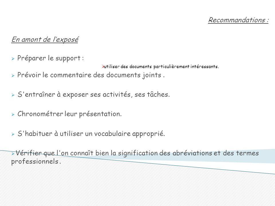Recommandations : En amont de l'exposé  Préparer le support :  utiliser des documents particulièrement intéressants.