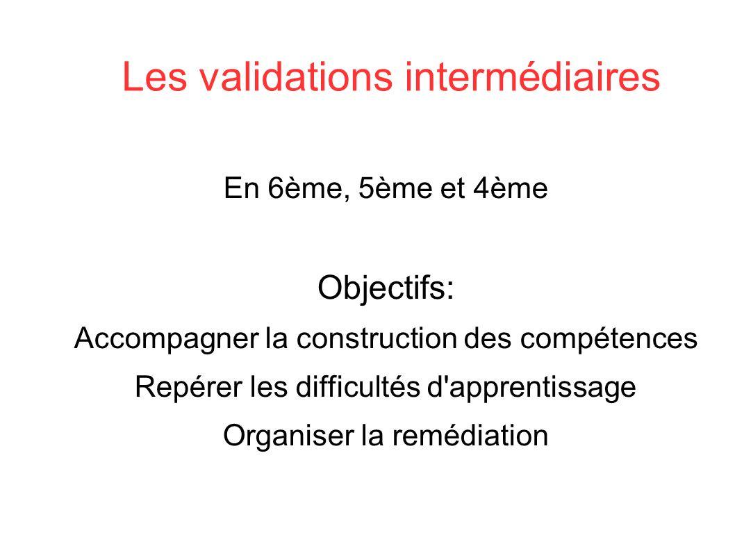Les validations intermédiaires En 6ème, 5ème et 4ème Objectifs: Accompagner la construction des compétences Repérer les difficultés d apprentissage Organiser la remédiation SOCLE COMMUN au COLLEGE