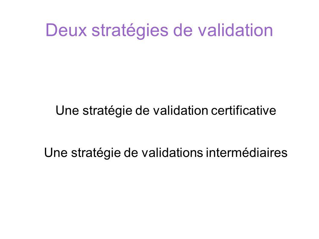 Deux stratégies de validation Une stratégie de validation certificative Une stratégie de validations intermédiaires SOCLE COMMUN au COLLEGE