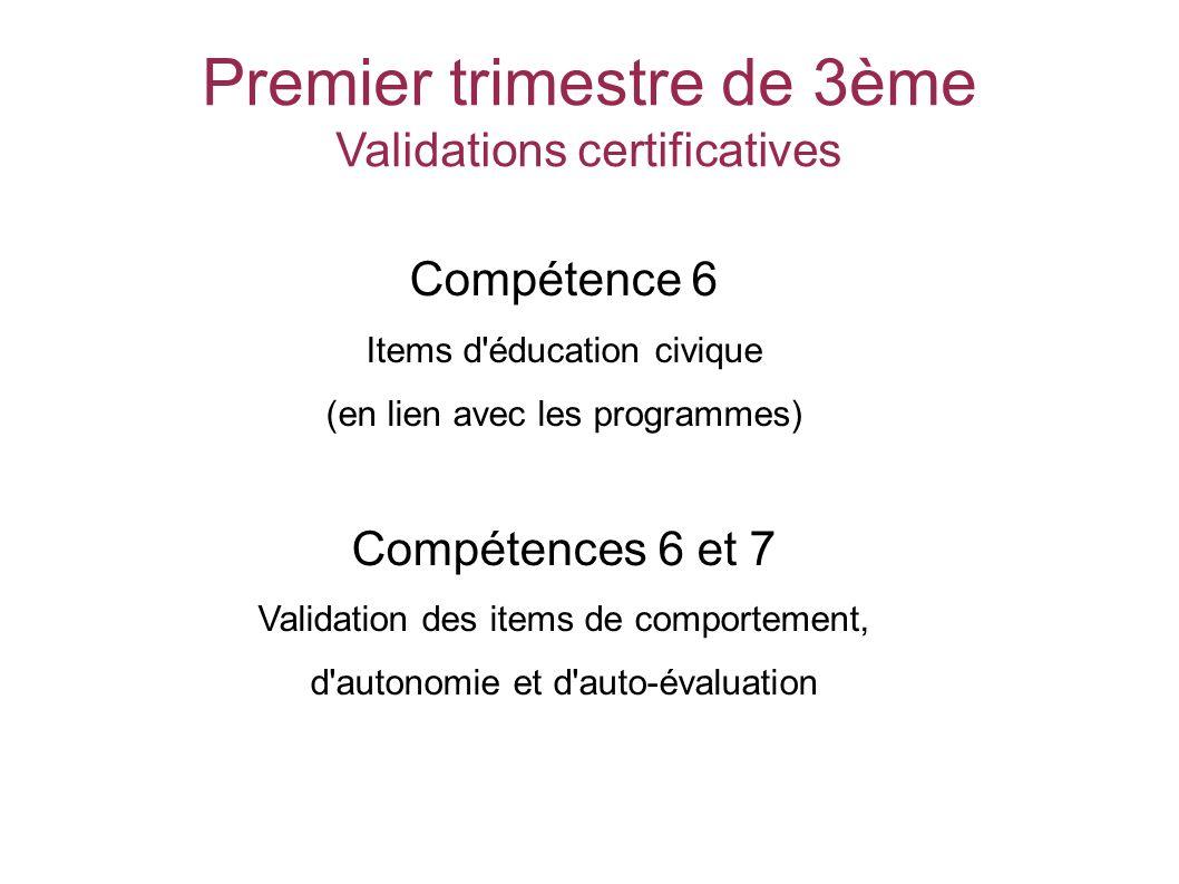 Premier trimestre de 3ème Validations certificatives Compétence 6 Items d éducation civique (en lien avec les programmes) Compétences 6 et 7 Validation des items de comportement, d autonomie et d auto-évaluation SOCLE COMMUN au COLLEGE