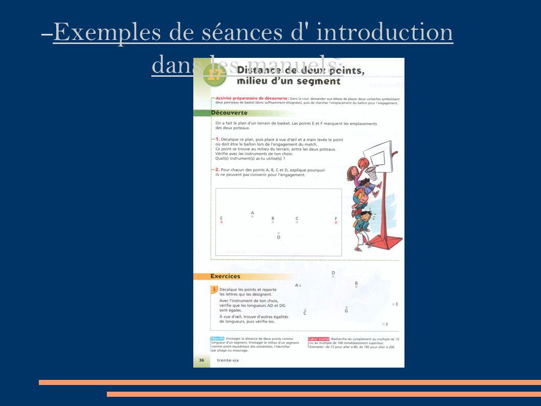 – Exemples de séances d introduction dans les manuels: