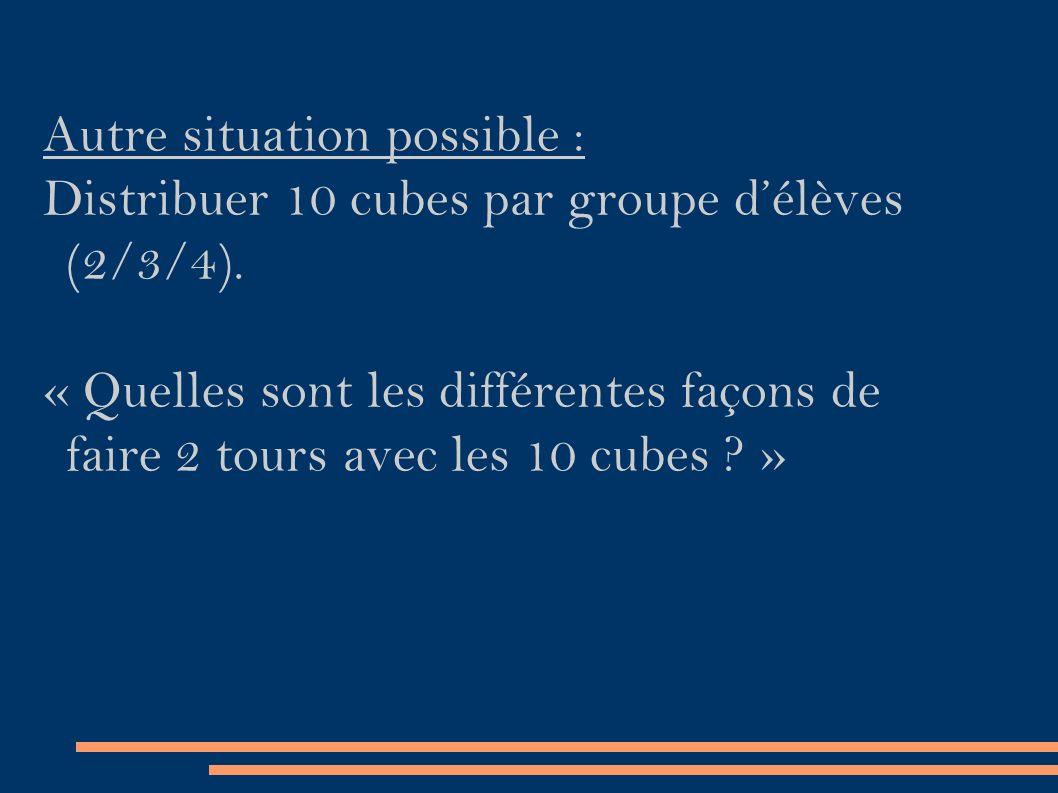 Autre situation possible : Distribuer 10 cubes par groupe d'élèves (2/3/4).