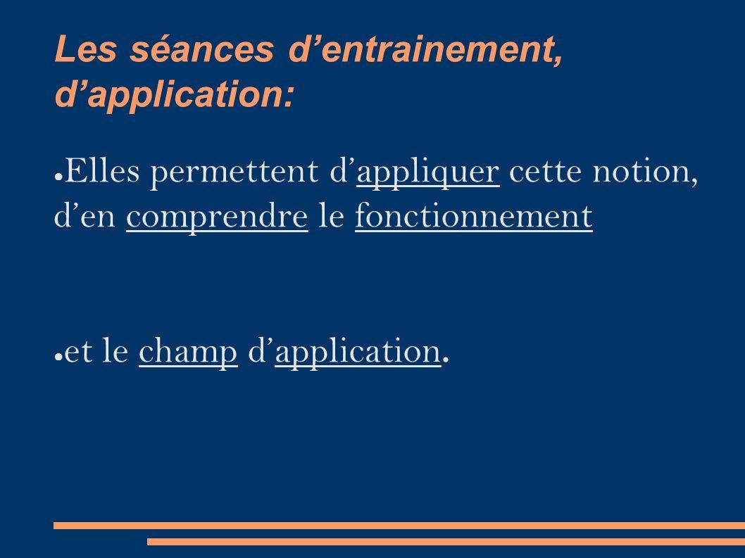 Les séances d'entrainement, d'application: ● Elles permettent d'appliquer cette notion, d'en comprendre le fonctionnement ● et le champ d'application.
