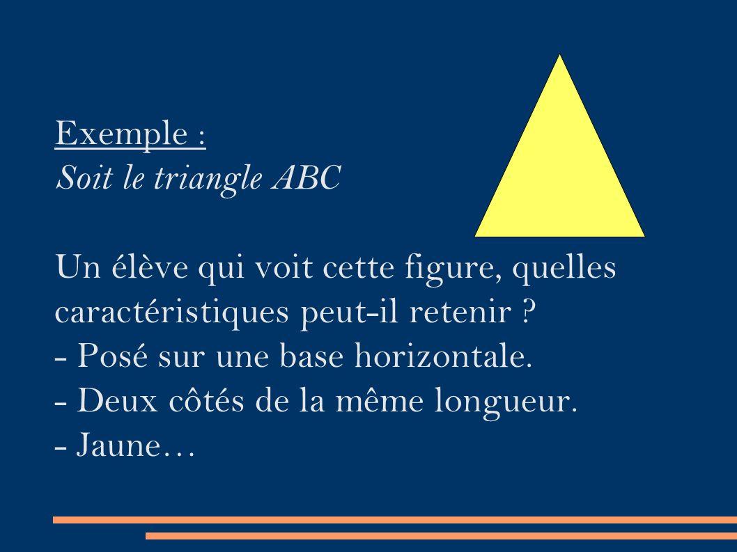 Exemple : Soit le triangle ABC Un élève qui voit cette figure, quelles caractéristiques peut-il retenir .