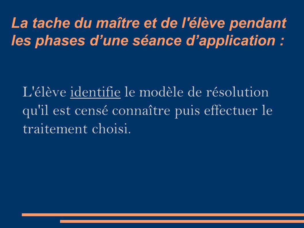 La tache du maître et de l élève pendant les phases d'une séance d'application : L élève identifie le modèle de résolution qu il est censé connaître puis effectuer le traitement choisi.
