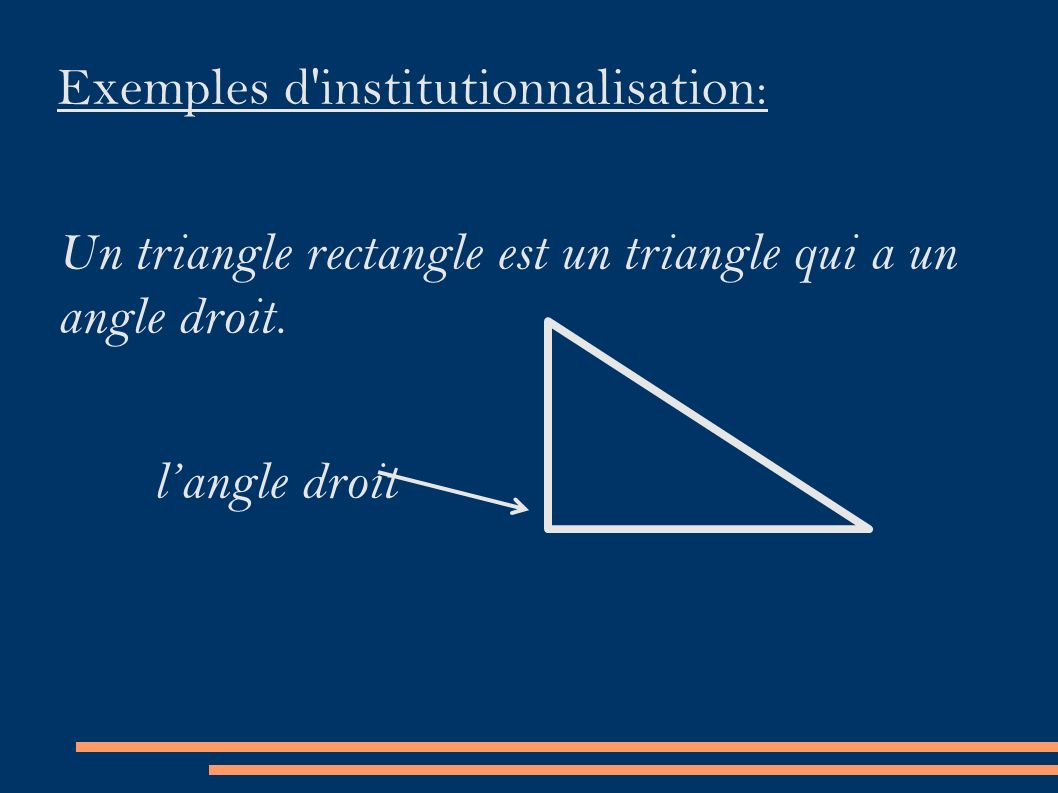Exemples d institutionnalisation: Un triangle rectangle est un triangle qui a un angle droit.