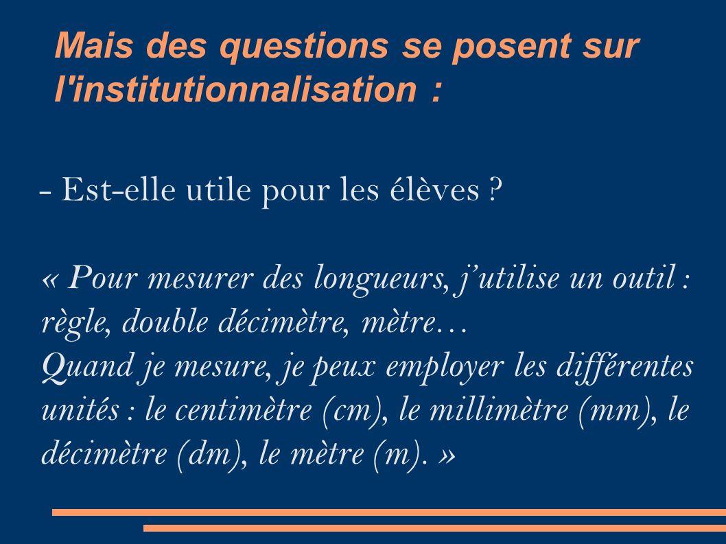 Mais des questions se posent sur l institutionnalisation : - Est-elle utile pour les élèves .