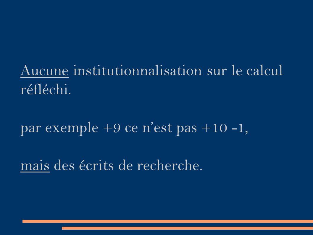 Aucune institutionnalisation sur le calcul réfléchi.