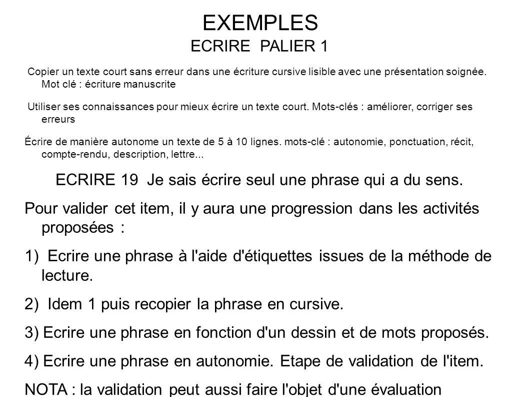 EXEMPLES ECRIRE PALIER 1 Copier un texte court sans erreur dans une écriture cursive lisible avec une présentation soignée.