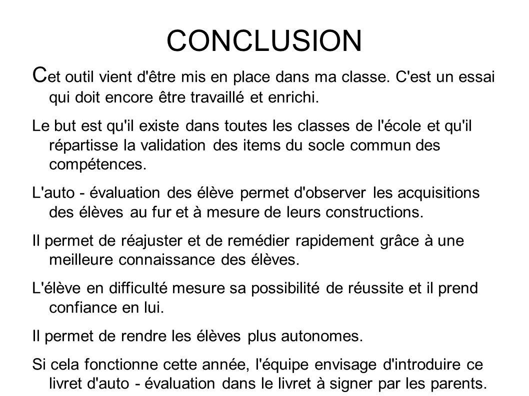 CONCLUSION C et outil vient d être mis en place dans ma classe.