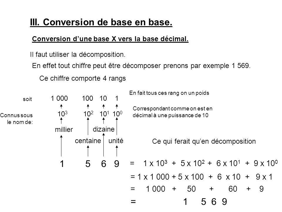 III. Conversion de base en base. Conversion d'une base X vers la base décimal.