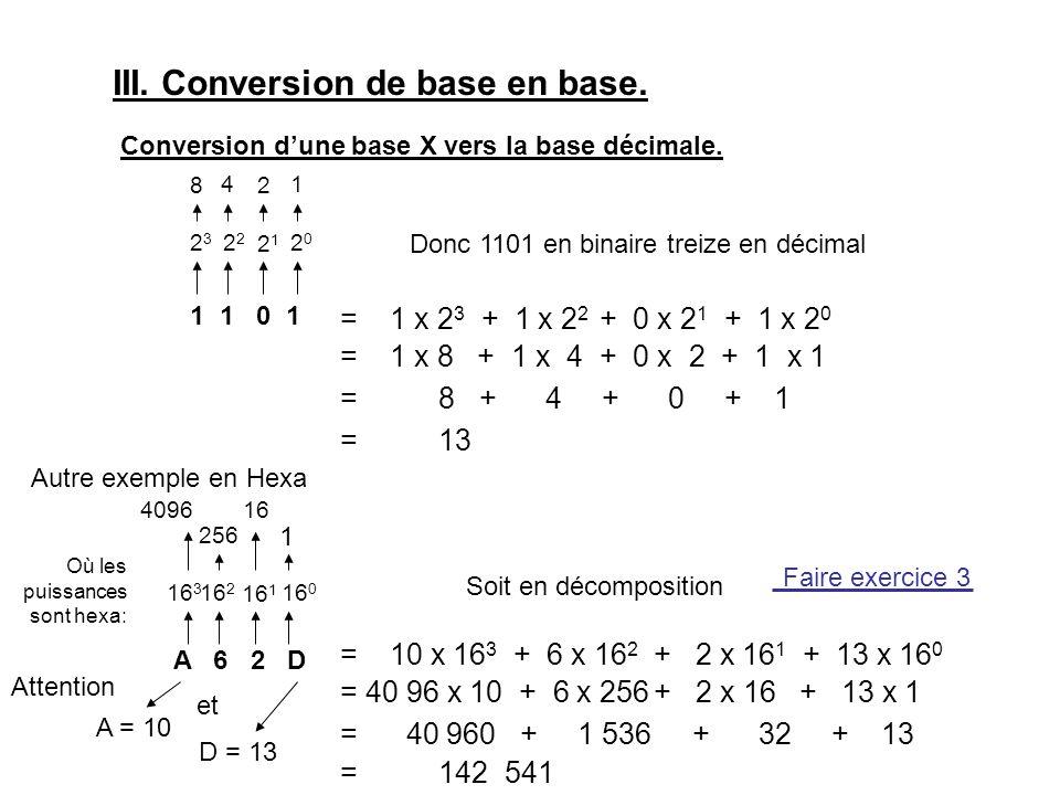 III. Conversion de base en base. Conversion d'une base X vers la base décimale.