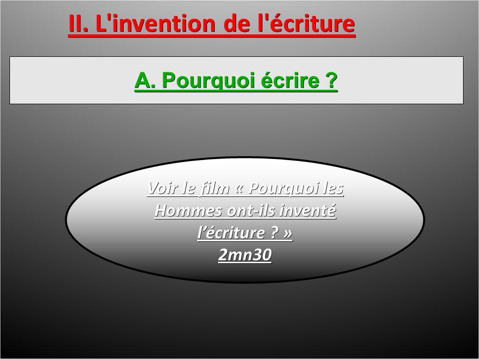II. L invention de l écriture A. Pourquoi écrire .