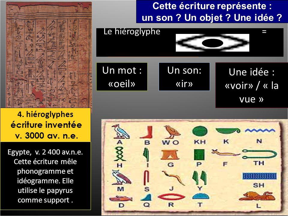 4. hiéroglyphes écriture inventée v. 3000 av. n.e.