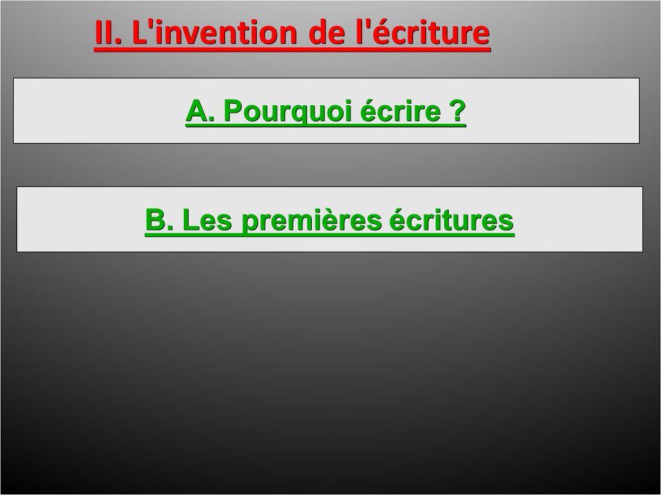 B. Les premières écritures II. L invention de l écriture A. Pourquoi écrire