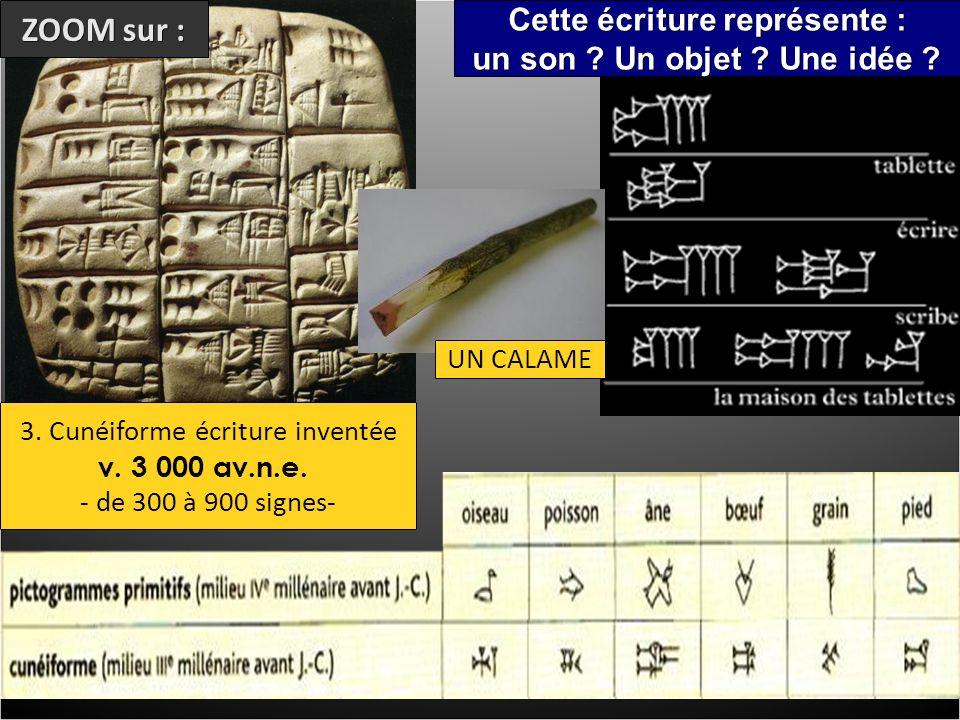 3. Cunéiforme écriture inventée v. 3 000 av.n.e.