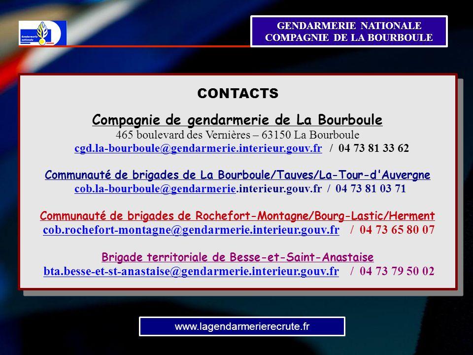 GENDARMERIE NATIONALE COMPAGNIE DE LA BOURBOULE Prévention de la ...