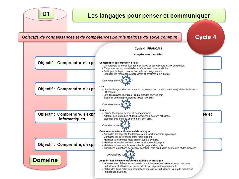 D1 Objectif : Comprendre, s exprimer en utilisant la langue française à l oral et à l écrit Objectif : Comprendre, s exprimer en utilisant une langue étrangère Objectif : Comprendre, s exprimer en utilisant les langages mathématiques, scientifiques et informatiques Objectif : Comprendre, s exprimer en utilisant les langages des arts et du corps Les langages pour penser et communiquer Objectifs de connaissances et de compétences pour la maîtrise du socle commun Domaine Cycle 4