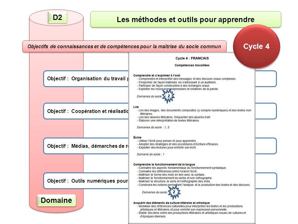 D2 Objectif : Organisation du travail personnel Objectif : Coopération et réalisation de projets Objectif : Médias, démarches de recherche et de traitement de l'information Objectif : Outils numériques pour échanger et communiquer Les méthodes et outils pour apprendre Objectifs de connaissances et de compétences pour la maîtrise du socle commun Domaine Cycle 4