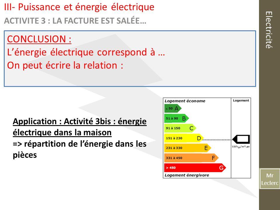 Mr Leclerc Electricit Chapitre  Puissance Et Energie Electrique I