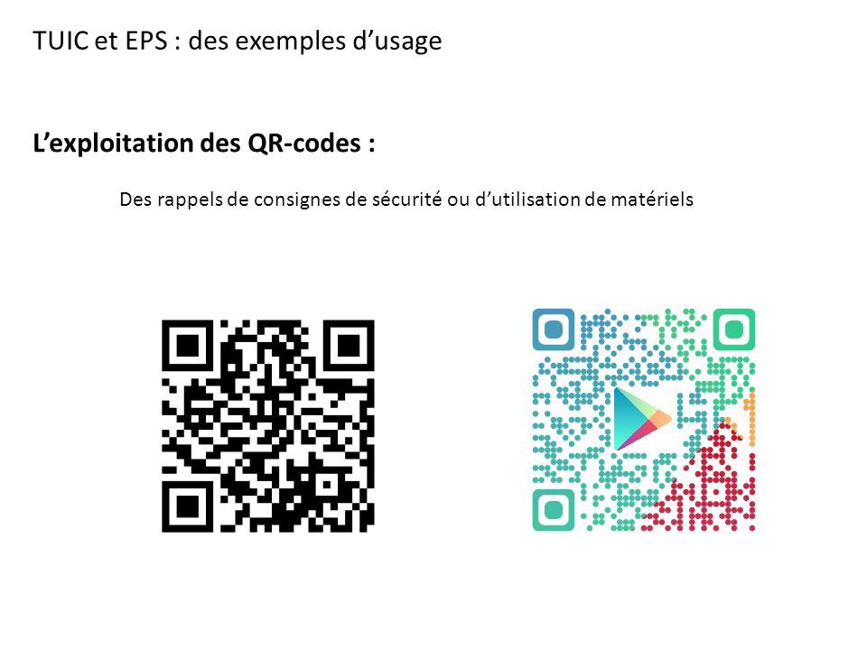TUIC et EPS : des exemples d'usage L'exploitation des QR-codes : Des rappels de consignes de sécurité ou d'utilisation de matériels
