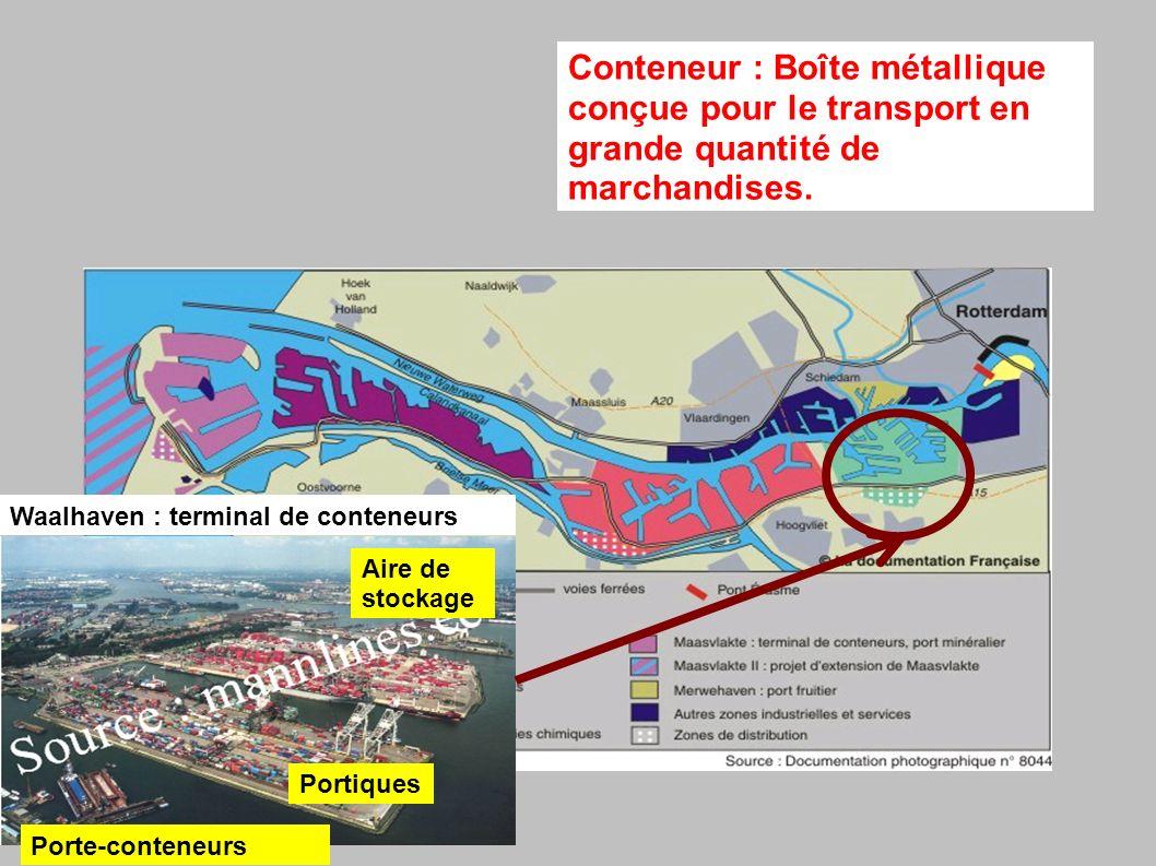 Waalhaven : terminal de conteneurs Conteneur : Boîte métallique conçue pour le transport en grande quantité de marchandises.