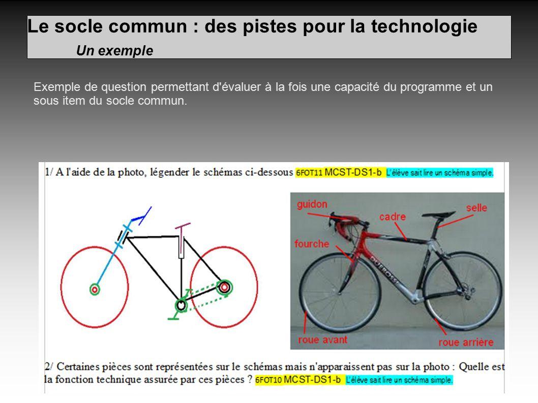 Le socle commun : des pistes pour la technologie Un exemple Exemple de question permettant d évaluer à la fois une capacité du programme et un sous item du socle commun.