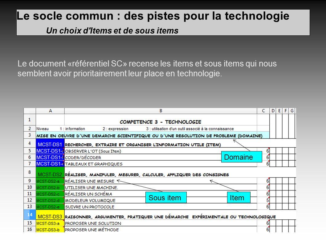 Le socle commun : des pistes pour la technologie Un choix d Items et de sous items Le document «référentiel SC» recense les items et sous items qui nous semblent avoir prioritairement leur place en technologie.