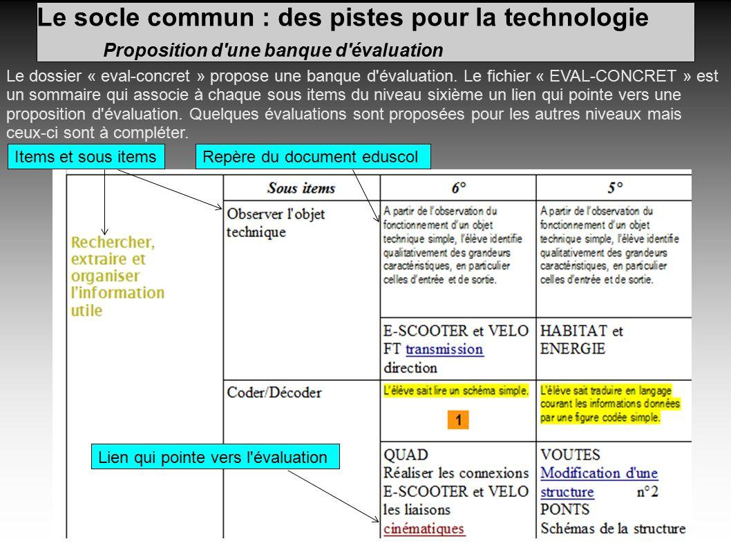Le socle commun : des pistes pour la technologie Proposition d une banque d évaluation Le dossier « eval-concret » propose une banque d évaluation.