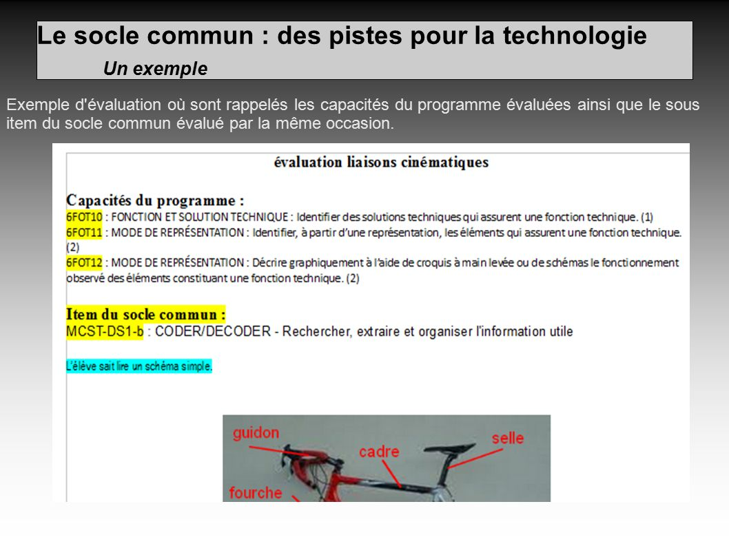 Le socle commun : des pistes pour la technologie Un exemple Exemple d évaluation où sont rappelés les capacités du programme évaluées ainsi que le sous item du socle commun évalué par la même occasion.