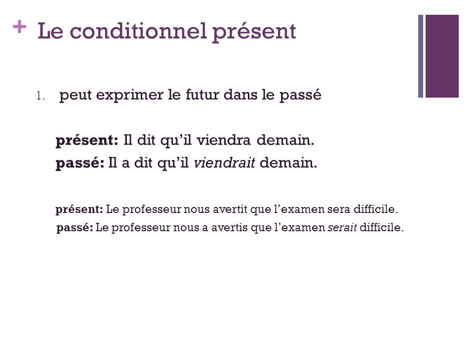 + Le conditionnel présent 1.