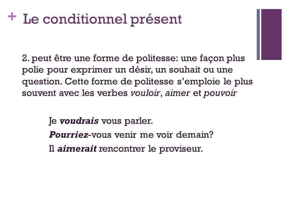 + Le conditionnel présent 2.