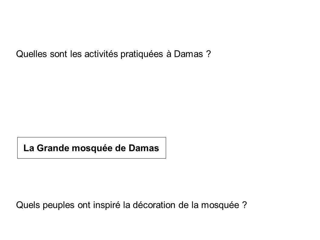 Quelle est l utilité de la citadelle . La décrire Quelles sont les activités pratiquées à Damas .
