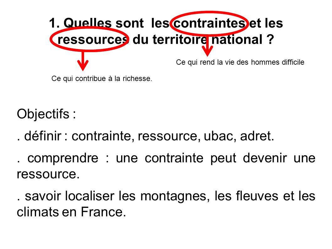 1. Quelles sont les contraintes et les ressources du territoire national .