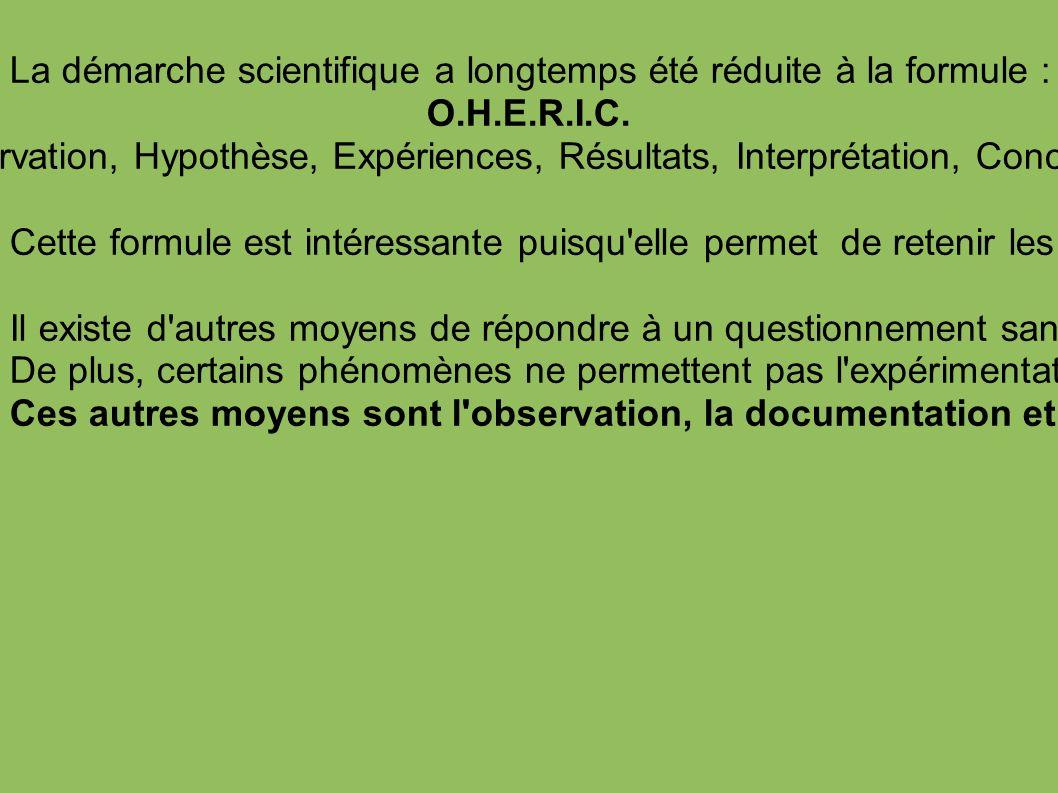 La démarche scientifique a longtemps été réduite à la formule : O.H.E.R.I.C.