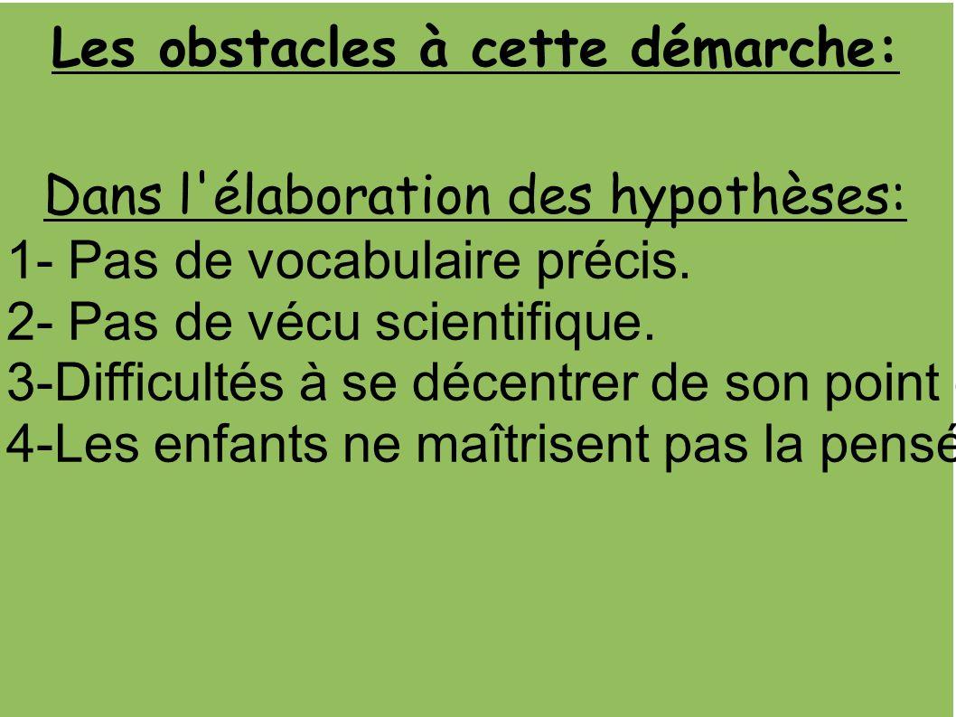 Les obstacles à cette démarche: Dans l élaboration des hypothèses: 1- Pas de vocabulaire précis.