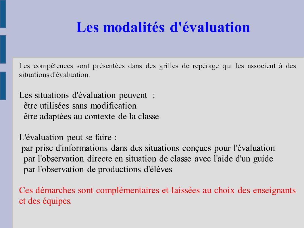 Les compétences sont présentées dans des grilles de repérage qui les associent à des situations d évaluation.