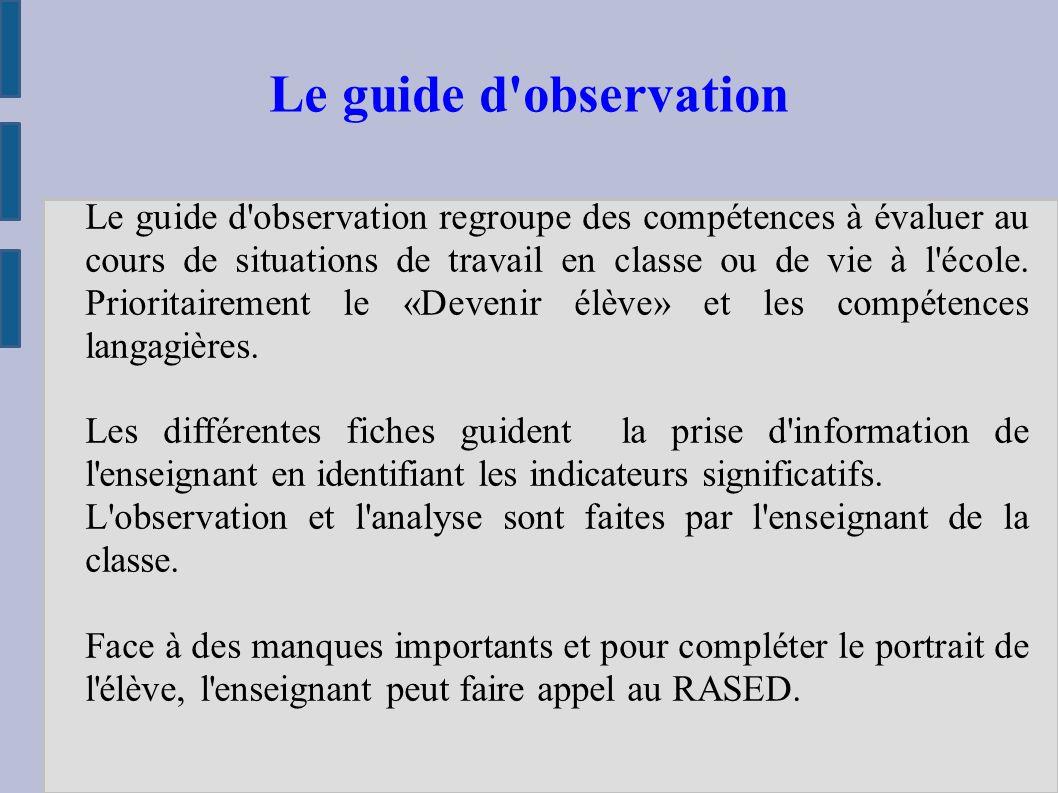 Le guide d observation regroupe des compétences à évaluer au cours de situations de travail en classe ou de vie à l école.