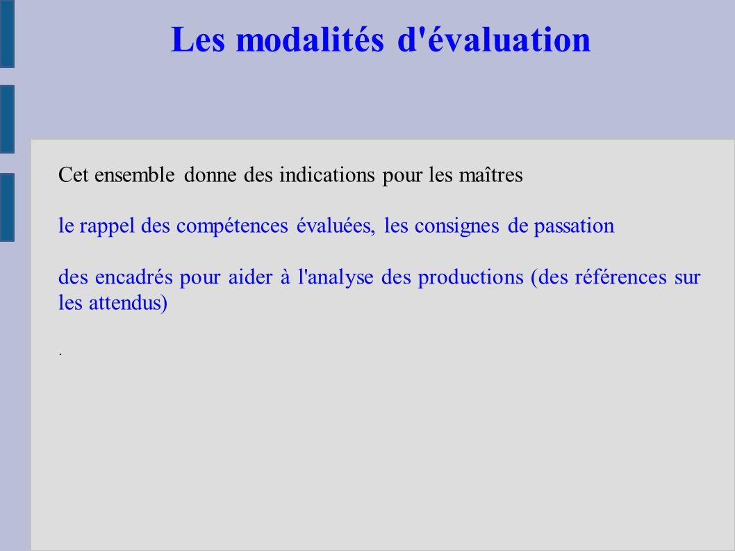 Les modalités d évaluation Cet ensemble donne des indications pour les maîtres le rappel des compétences évaluées, les consignes de passation des encadrés pour aider à l analyse des productions (des références sur les attendus).