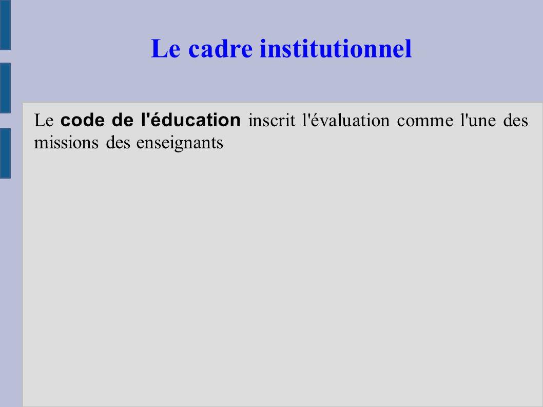 Le code de l éducation inscrit l évaluation comme l une des missions des enseignants Le cadre institutionnel