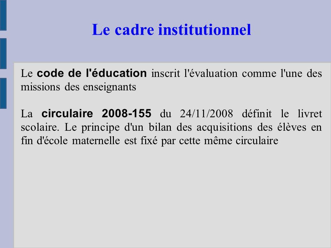 Le code de l éducation inscrit l évaluation comme l une des missions des enseignants La circulaire 2008-155 du 24/11/2008 définit le livret scolaire.