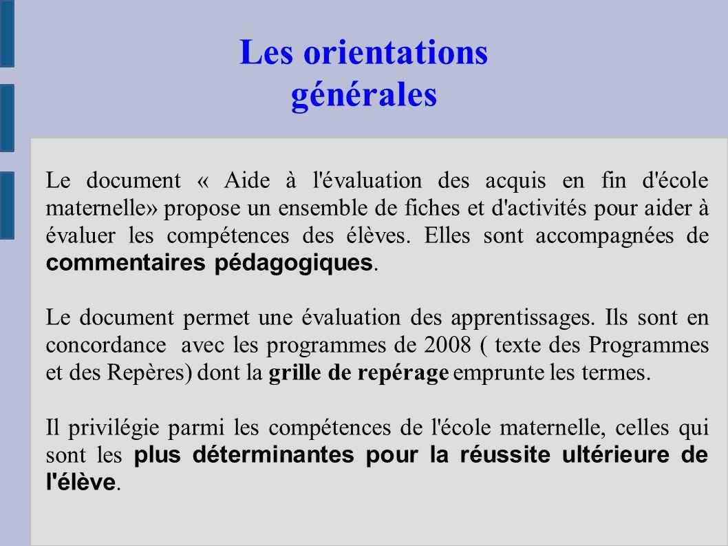 Le document « Aide à l évaluation des acquis en fin d école maternelle» propose un ensemble de fiches et d activités pour aider à évaluer les compétences des élèves.