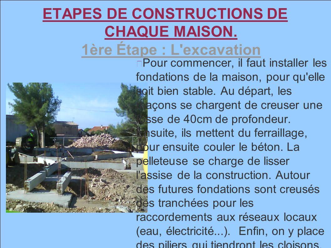 3 etapes de constructions de chaque maison