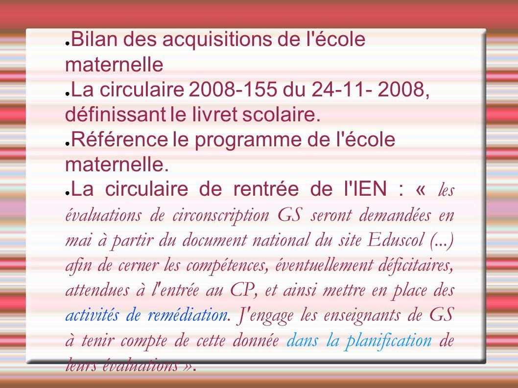● Bilan des acquisitions de l école maternelle ● La circulaire 2008-155 du 24-11- 2008, définissant le livret scolaire.