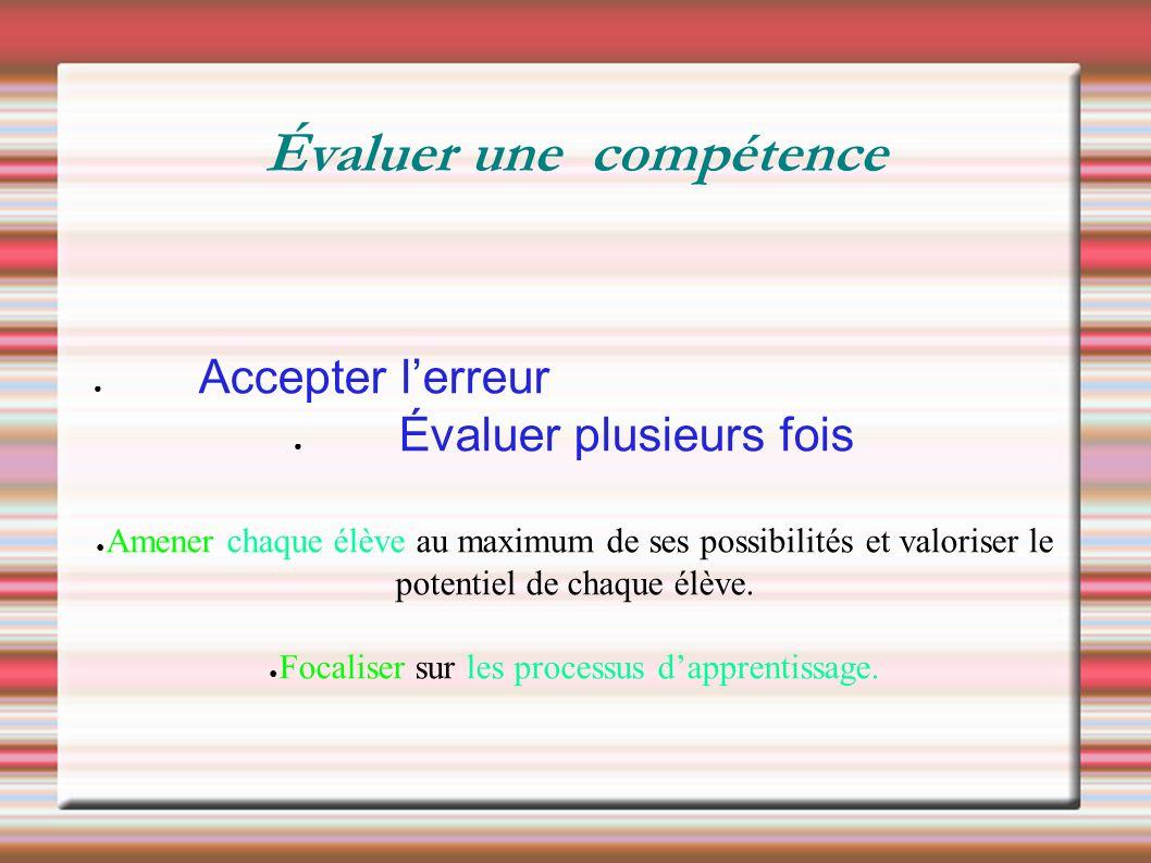 ● Accepter l'erreur ● Évaluer plusieurs fois ● Amener chaque élève au maximum de ses possibilités et valoriser le potentiel de chaque élève.